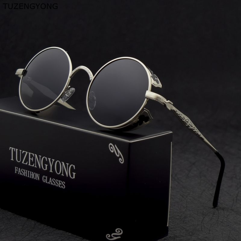 TUZENGYONG Mode HD lunettes de Soleil Polarisées Hommes/Femmes Rond En Métal Sculpture Vintage Soleil Lunettes Gothique Steampunk Lunettes De Soleil T371