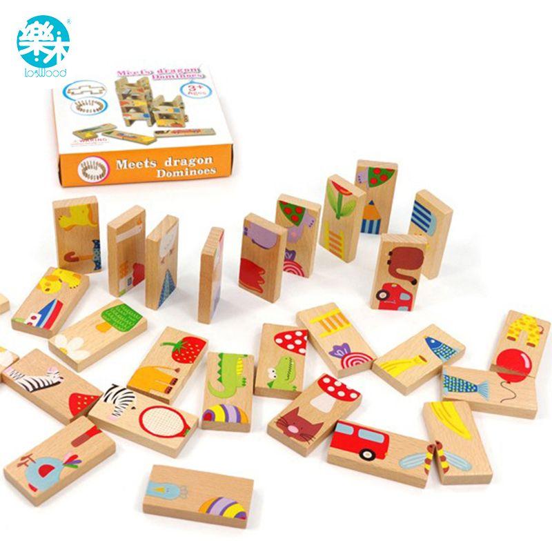 Enfants de Jouets En Bois jeu de société de Haute qualité 28 pièces Hêtre Bois Domino Solitaire Apprentissage Cognitive jouets éducatifs