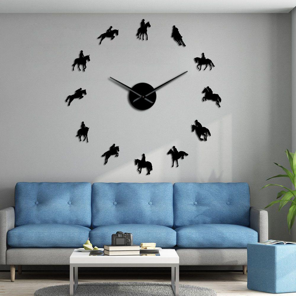 Equestre bricolage grande horloge murale equestre trianisme décoratif mur Art autocollants cheval course équitation miroir effet horloges acryliques