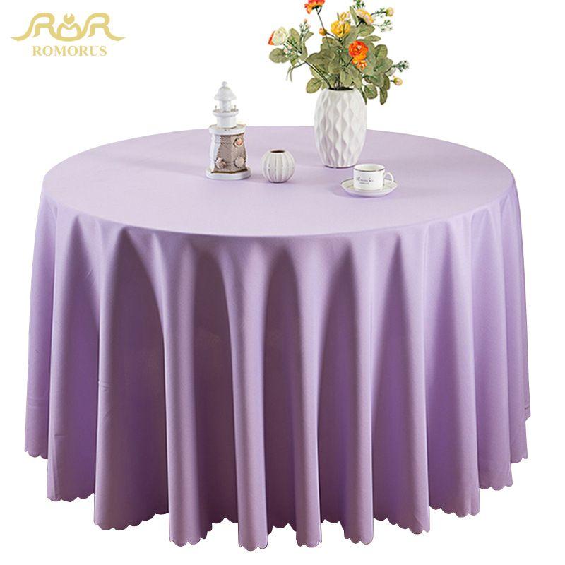 ROMORUS Polyester nappes rondes couleur unie nappe de mariage rectangulaire à manger hôtel Table couverture lavable en Machine