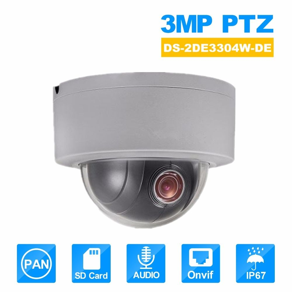 Hikvision PTZ IP Camera DS-2DE3304W-DE 3MP Network Mini Dome Camera 4X Optical Zoom Support Ezviz Remote View Security Camera