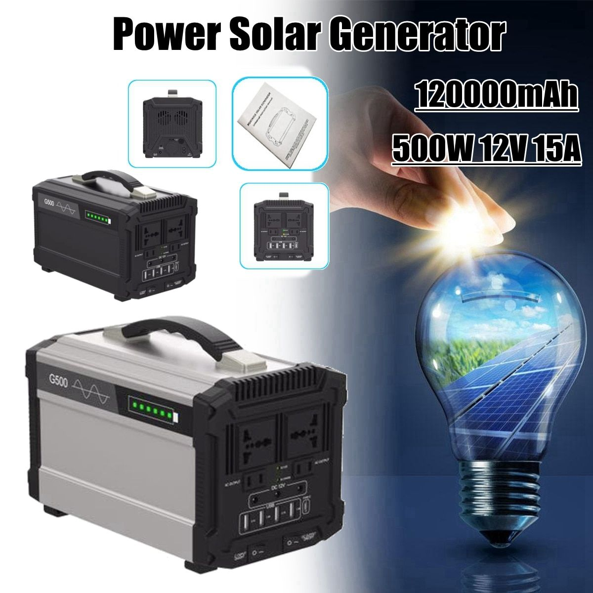 110V/220V 444Wh 120000mAh 500W 12V 15A Inverter Energy Power Storage Home Outdoor Portable Power Solar Generator Faster Charge