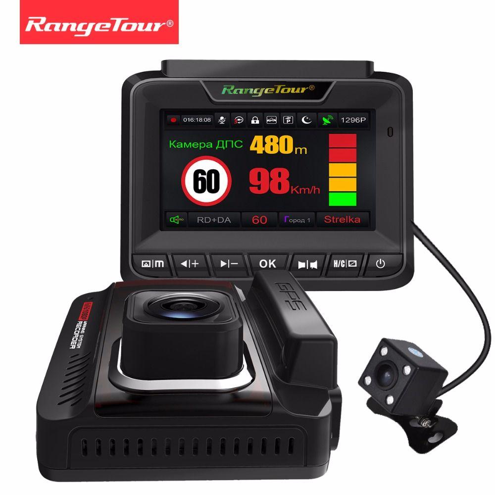 Russia 3 in 1 Radar Detector GPS Dash Cam Dual Lens FHD 1296P Video Recorder Car Camera Rear DVR Auto Registrar Anti Radar Data