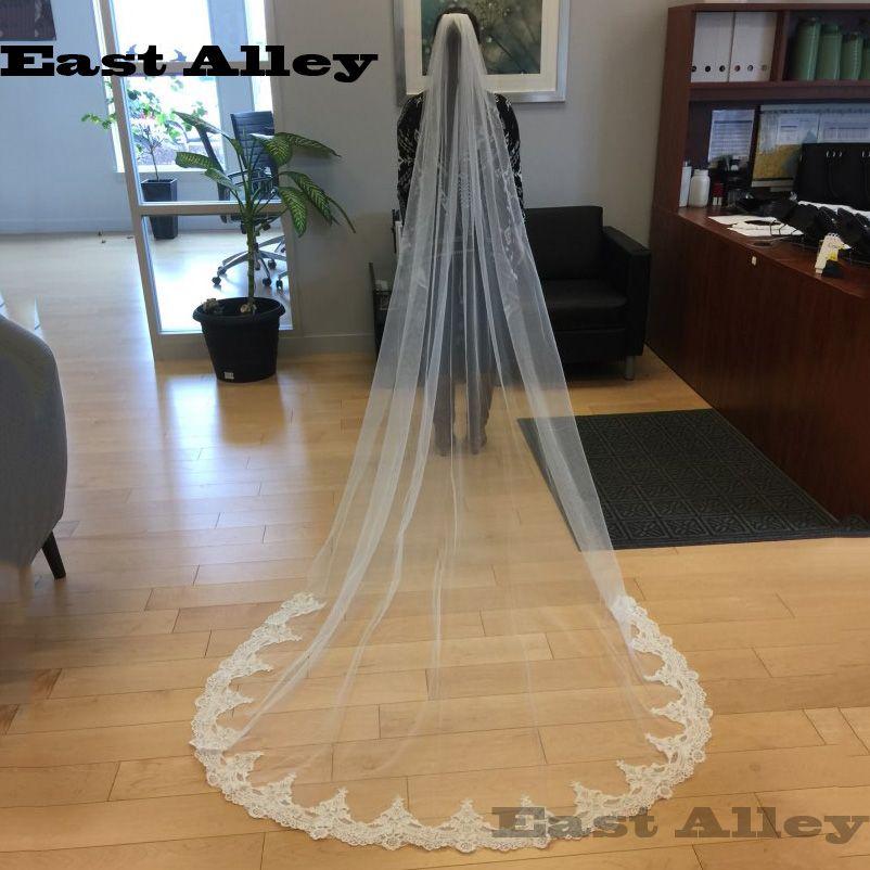 Blanc ivoire cathédrale longueur voiles de mariage une couche dentelle accessoires de mariée voile avec peigne