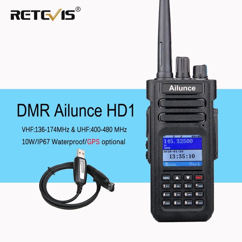 Dual Band DMR Ham Radio Retevis Ailunce HD1 GPS Digital Walkie Talkie 10W VHF UHF Ham Amateur Radio Hf Transceiver Program Cable