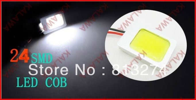 2pc White 24smd COB Chip LED Car Interior  T10 Festoon Dome Adapter 12V with shell Car Vehicle LED Panel Light free shipping JJJ