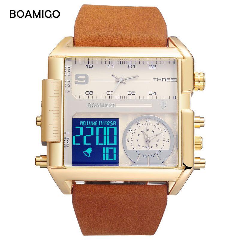 Brand BOAMIGO Sport Fashion Watch Men Multiple Time Zone Big Luxury Chronograph Watch Leather Square Quartz Mens Wrist Watches