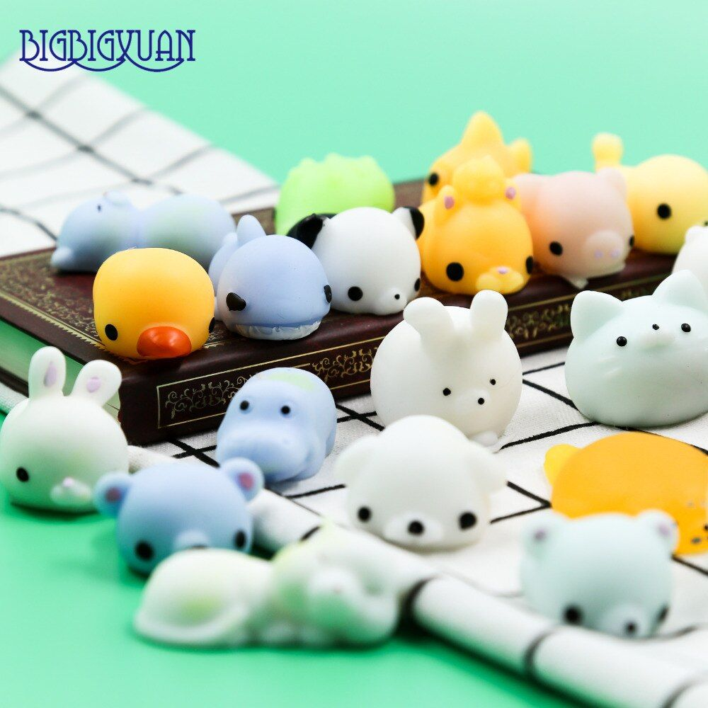 30pcs DIY Soft Decompression Squishy Fox Hippo Seal Cell Phone Straps Cute Animals Rabbits Panda Cats Toy Phone Decoration Strap