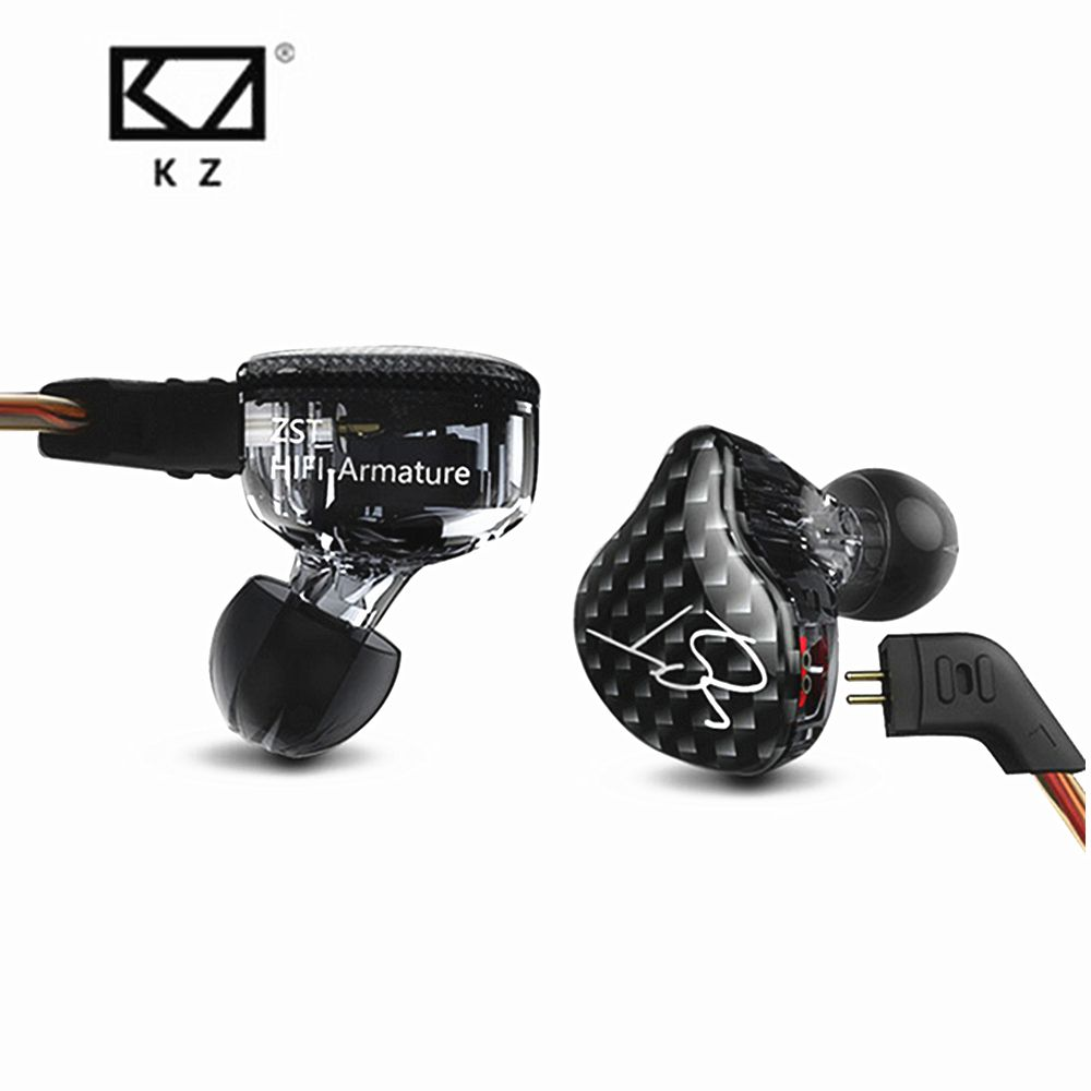 New KZ ZST Balanced Armature With Dynamic In-ear Earphone BA Driver <font><b>Noise</b></font> Cancelling Headset With Mic Replacement Cable