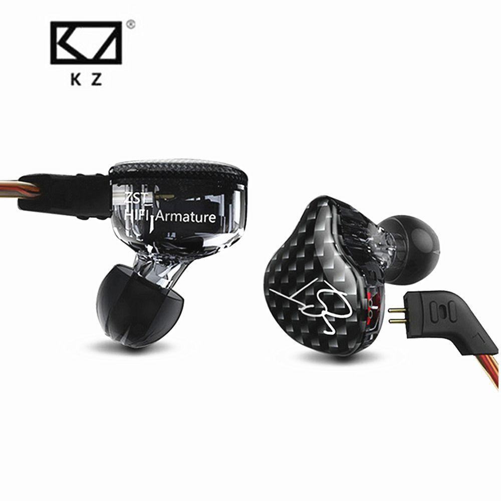 Nouveau KZ ZST Armature Équilibrée Avec Dynamique In-Ear Écouteurs BA Pilote Antibruit casque avec micro Remplacement Câble KZ ZSN