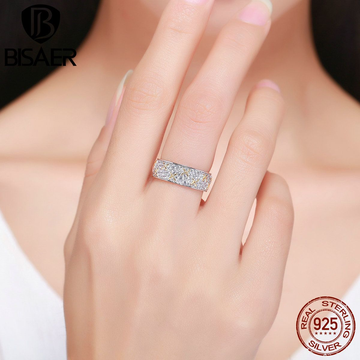 High Quality 100% 925 Sterling Silver Ring Flower Halo Big Finger Rings for Women Wedding Jewelry Valentine's Day Gift