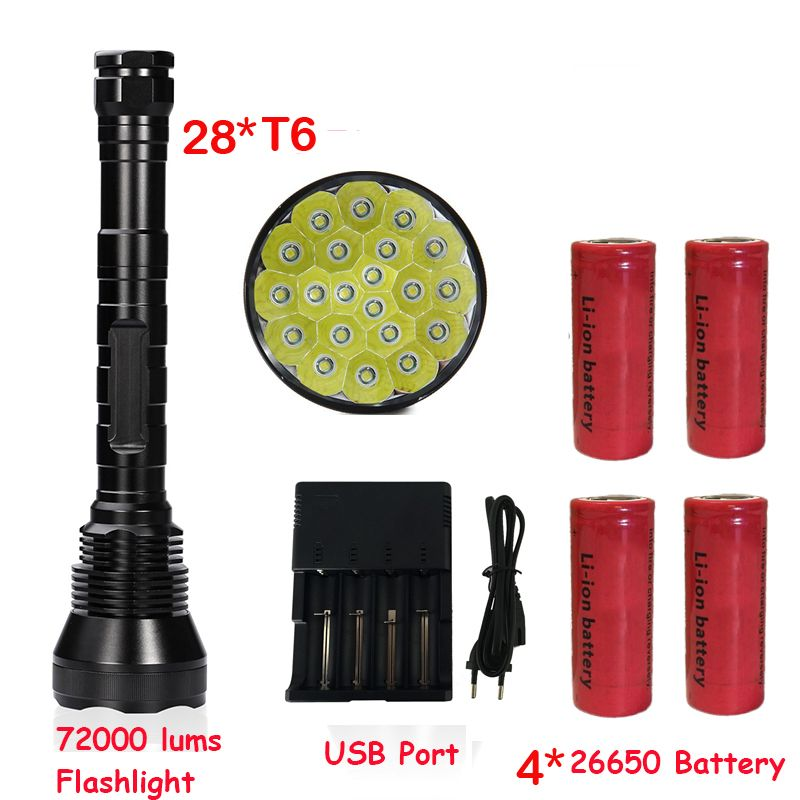Newest Super Bright 72000 Lumen 5 Mode 28* T6 LED Flashlight Strong Torch Flash Light lamp torche with 4*26650 battery