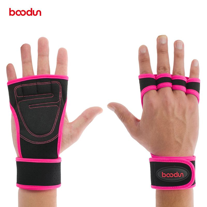 BOODUN Weightlifting Gloves Fitness Home Gym Hand Grips Palm Protect Wrist Wrap Support Gloves Dumbbell Horizontal Bar Gloves