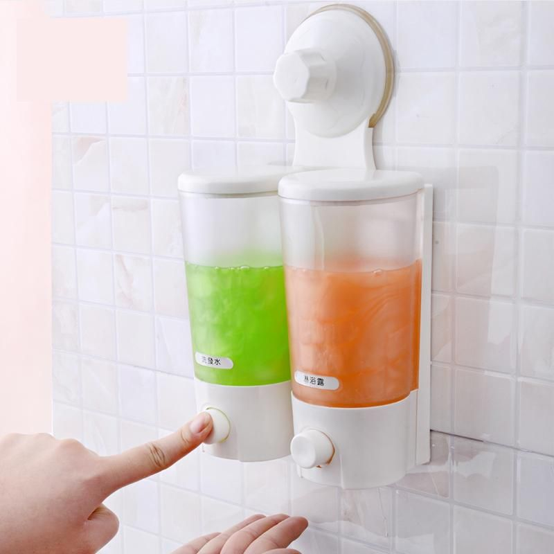 Wall Mounted Strong Suction Cup Double Hand Liquid Soap Dispenser For Bathroom Holder Hotel Style Body Wash Rack Holder