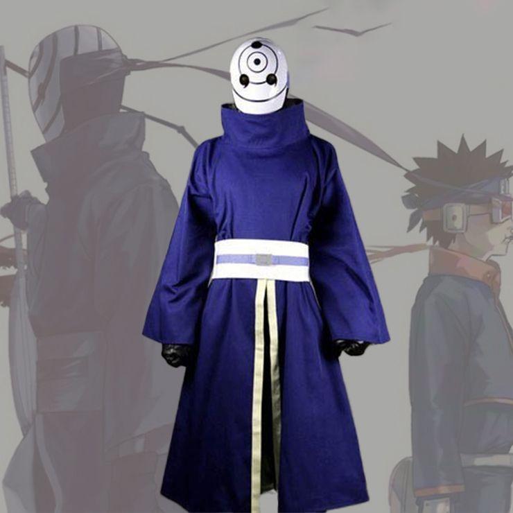 Anime Naruto Shippuden Uchiha Obito/Madara Cosplay Kostüm Halloween Karneval Ninja Battle Suit Blau Kimono Keine Maske Nach Maß