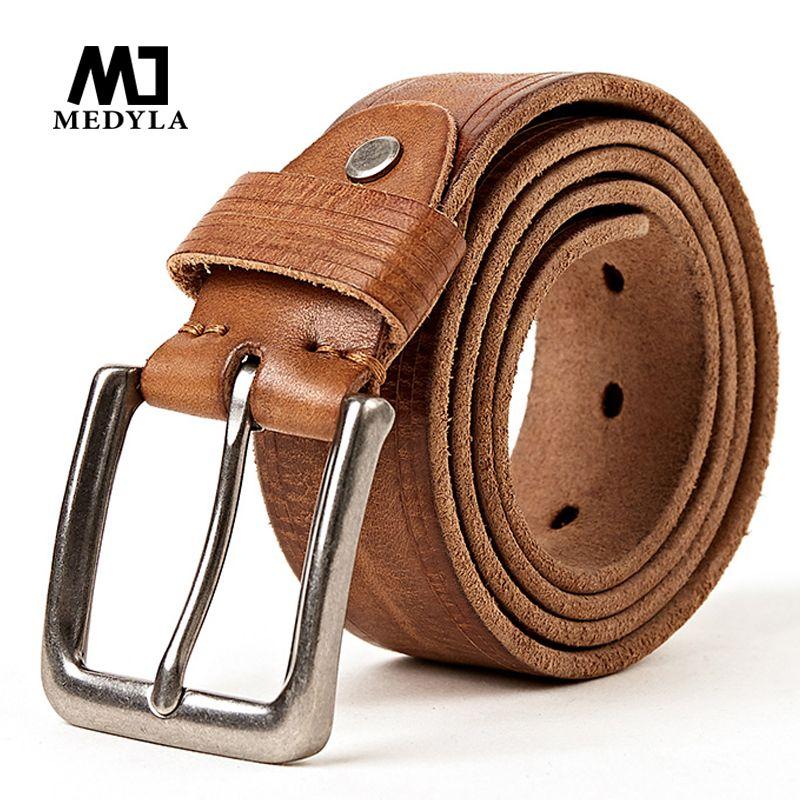 MEDYLA 100% Full Grain Leather Belt Jeans Men Belt <font><b>Good</b></font> Quality Male Strap Wedding Groomsmen Gift Can Be Used for 10 Years