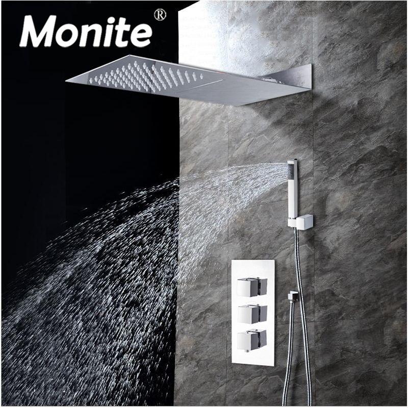 Bad 3 Funktion Quadratischen Kopf Dusche Wasserhahn Chrom-finish Messing Dusche Set 8 zoll Regen Dusche Kopf Mixer Wasserhahn