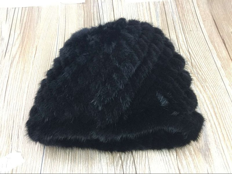 2017 winter women mink real fur acrylic knitted beanies soft warm beanie
