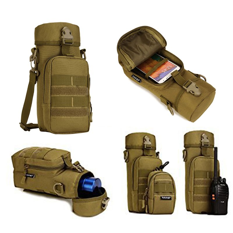 Outdoor Military Water Bottle Pouch Holder Tactical Kettle Gear Molle Pack Bag for Hunting Camping Hiking Trekking Travel