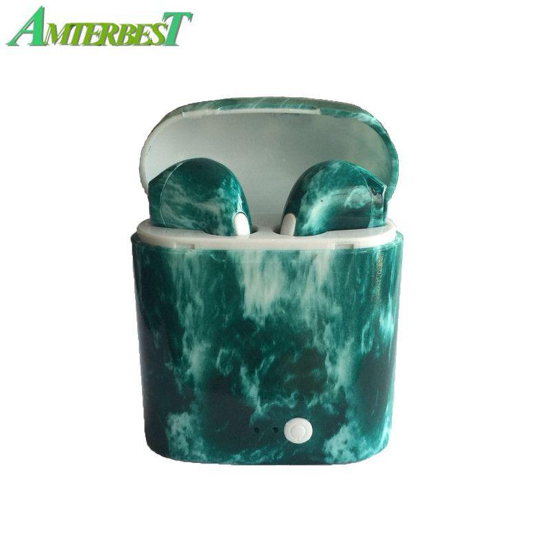 AMTERBEST Personnalisé Produit Coloré dessin Bluetooth Écouteurs Jumeaux Bluetooth V4.2 Stéréo Casque Écouteur pour Bluetooth dispositif