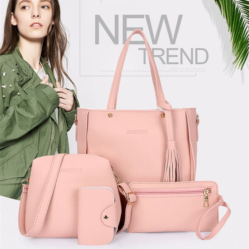 Women Top-Handle Bags Female Composite Bags 2018 Women Messenger Bags Handbag Set PU Leather Wallets Key Bag Set