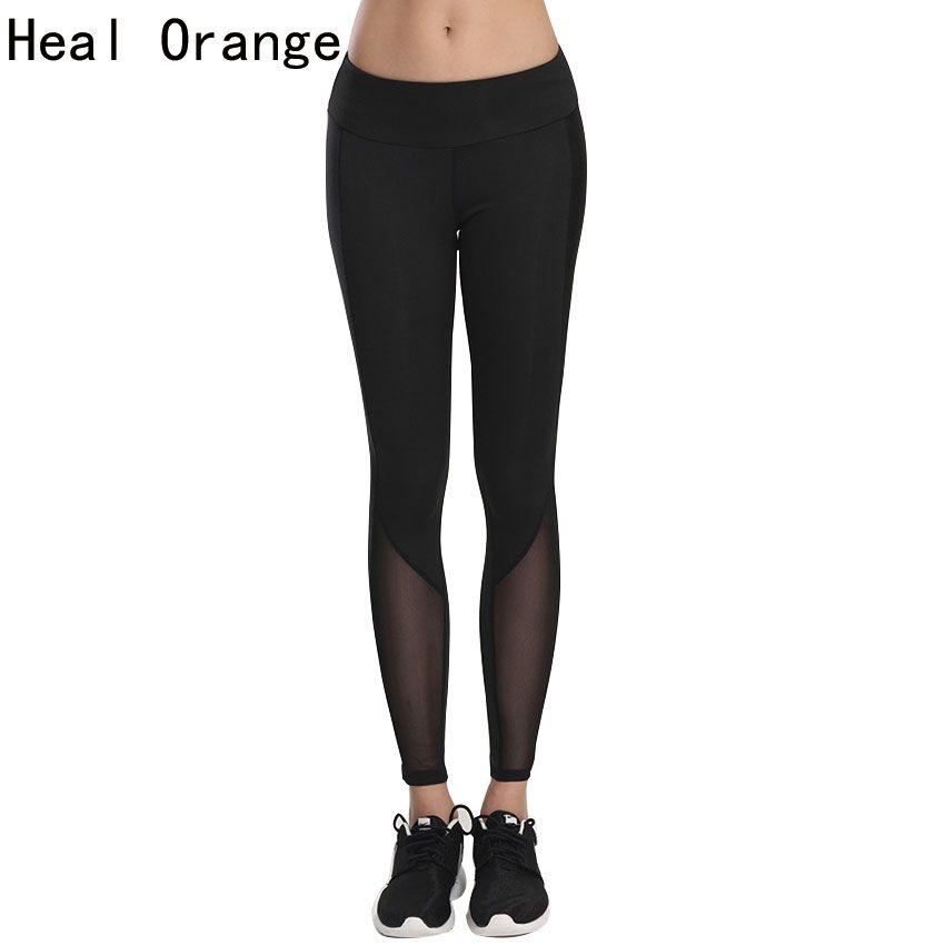 GUÉRIR ORANGE Femmes Collants Running Yoga Pantalon Maille Patchwork Leggings Élasticité Sport Jogging Yoga Remise En Forme pour Femmes Mince Legging