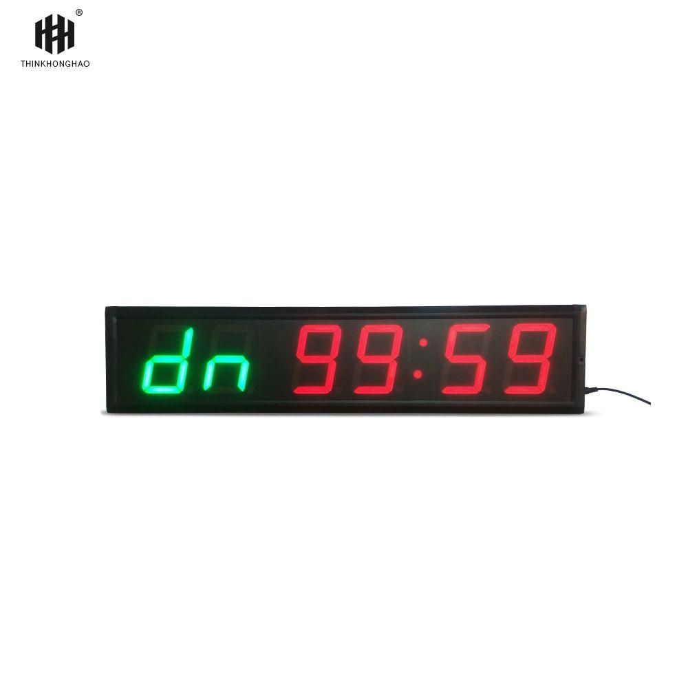 Fracht freies 4 ''6 Ziffern LED Countdown-Uhr Workout Timer Für Garage Home Gym Crossfit Training EMOM Tabata Fitness timer