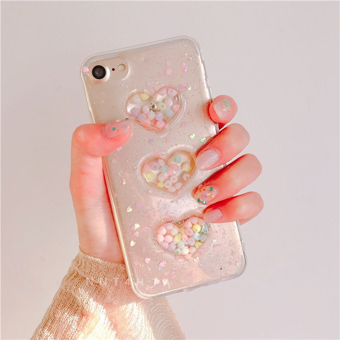 3D candy Love heart Glitter case For iPhone 7 7plus Bling soft TPU phone cases For iphone 6 6s 6plus back cover
