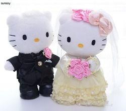 1 Pair Hello Kitty Mainan Pernikahan Beberapa Hadiah Hello Kitty Cat Boneka Mainan Mewah Lembut Boneka Bantal Bantal Hadiah Ulang Tahun 22-30 CM