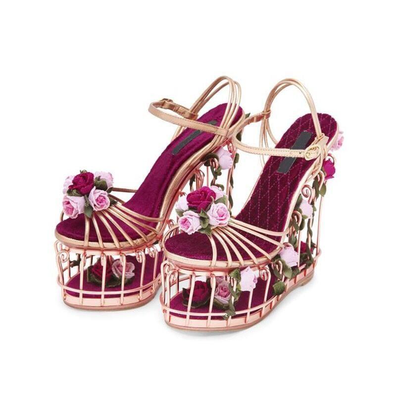 Top Qualität Plattform Schuhe Sommer Frauen Höhlen Keile Rose und verlässt Besetzt Sandalen Hochzeit/Party Schuhe 17 CM Super High Heels