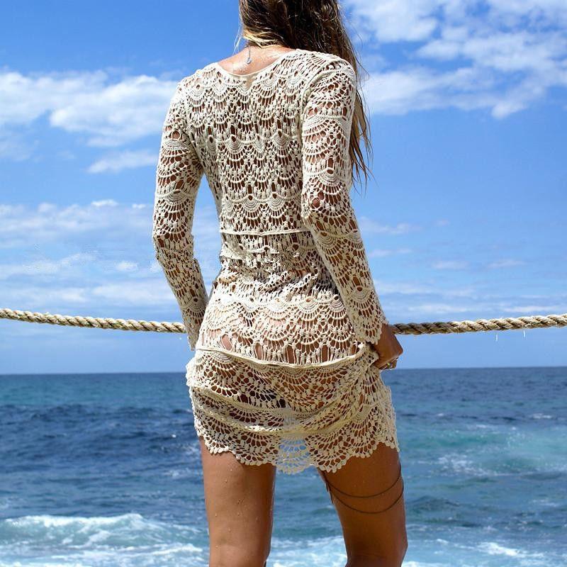 2017 Sexy Beach Cover up Crochet Blanco del traje de Baño Vestido de Las Señoras Del Traje de Baño Cubre sube Beach Túnica Saida de Praia