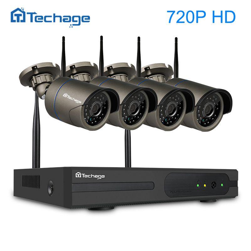 Techage 4CH Wireless NVR CCTV System 720P 1.0MP Outdoor Security IP Camera IR P2P Remote View Wifi Video Surveillance Kit 1TB