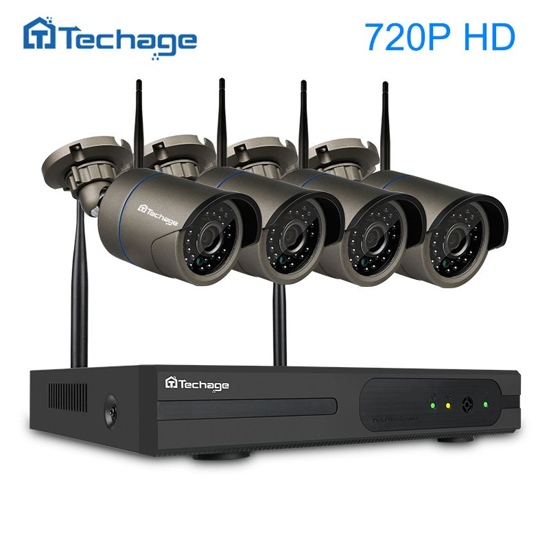 Techage 4CH Wireless NVR CCTV System 720P 1.0MP Outdoor Security IP Camera IR P2P Remote View Wifi Video Surveillance Kit 1TB