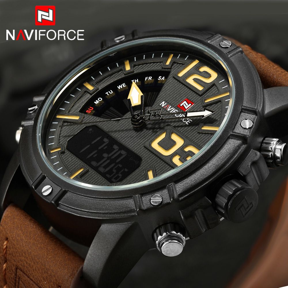 NAVIFORCE Watches Men Luxury Brand Quartz Leather Clock Man Sport Watches Army Military Watch Sports Relogio Masculino 9095 saat