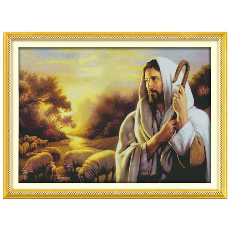 Big!! Jesus Shepherding (2) Counted Cross Stitch DIY 11CT 14CT Cross Stitch Sets Chinese Cross-Stitch Kits Embroidery Needlework