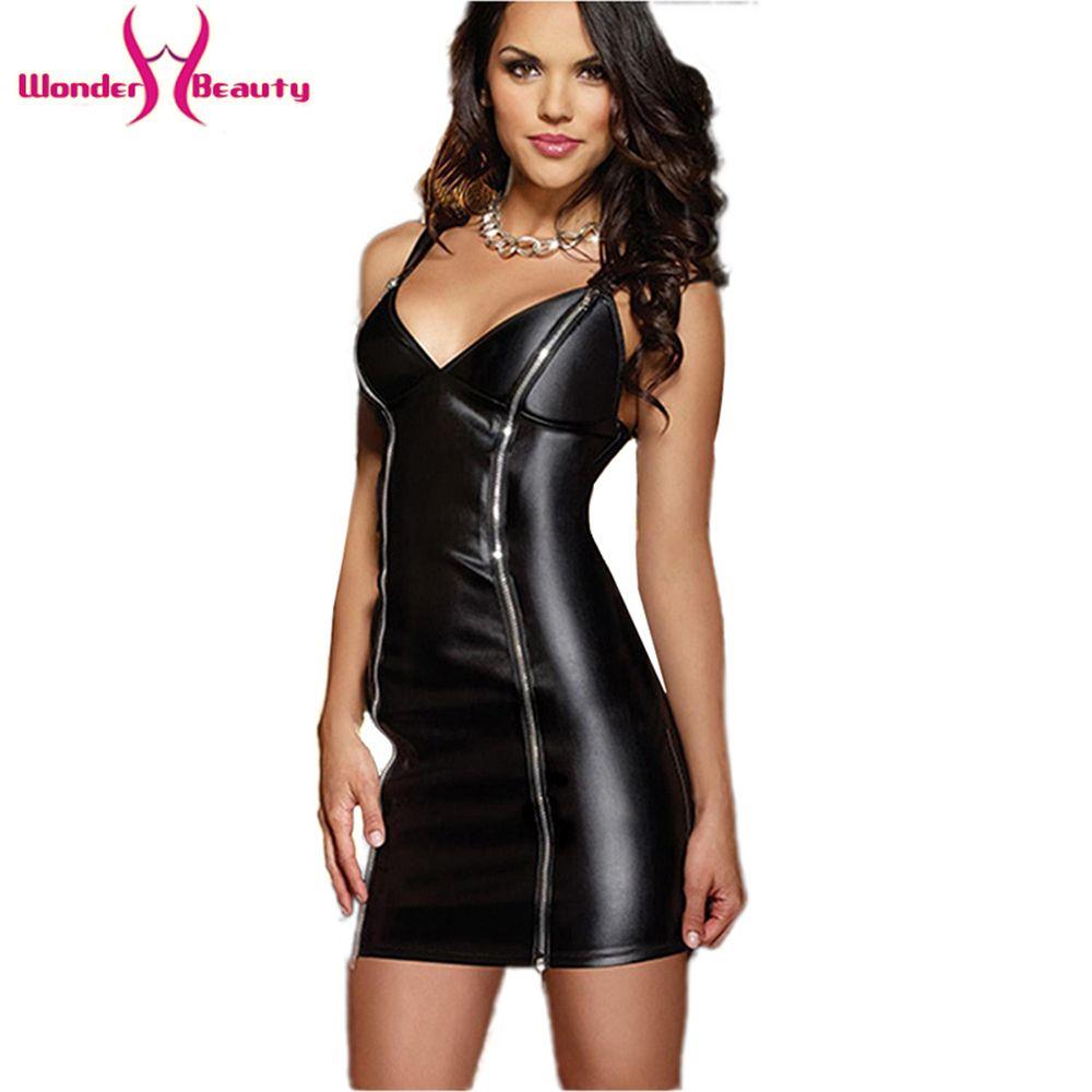 Gothique cuir fétiche robe Sexy soutien-gorge Rivet noir avant Zipper Clubwear mode sans manches Spaghetti sangle Sexy vinyle robe