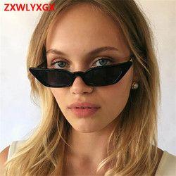 ZXWLYXGX 2018 nueva moda gafas de sol ms. man retro colorido transparente pequeño colorido CatEye gafas de sol