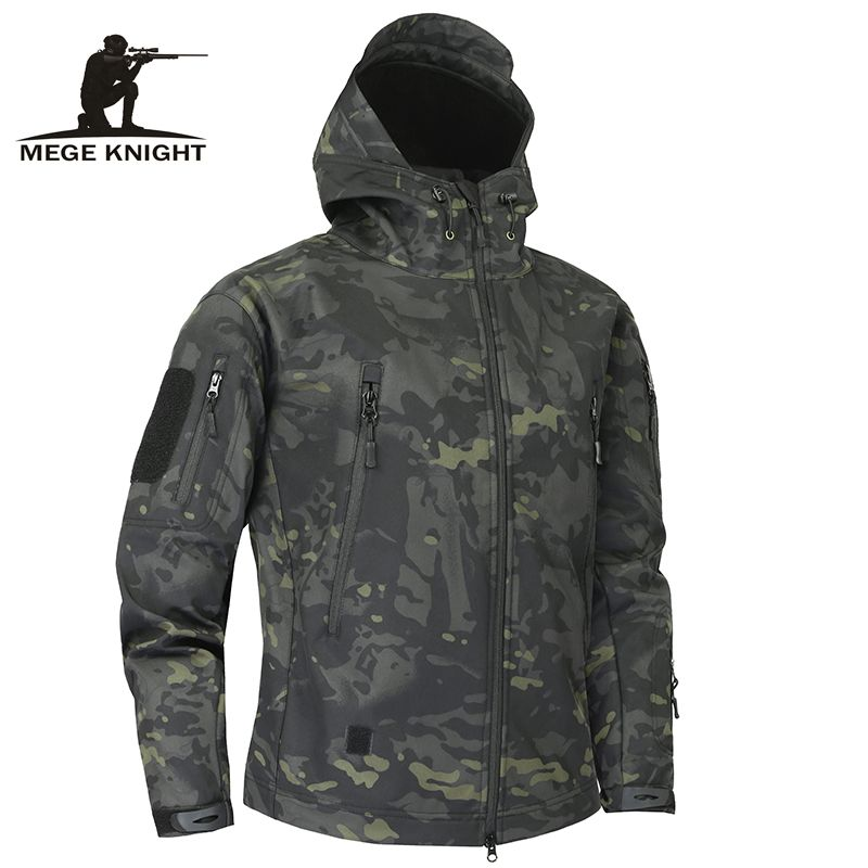 Mege Shark Skin Soft Shell Military Tactical Jacket Men Waterproof Army Fleece Clothing Multicam Camouflage Windbreakers 4XL