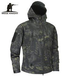 Mege tiburón piel suave Conchas Militar Tactical chaqueta hombres impermeable ejército fleece ropa MultiCam camuflaje rompevientos 4xl
