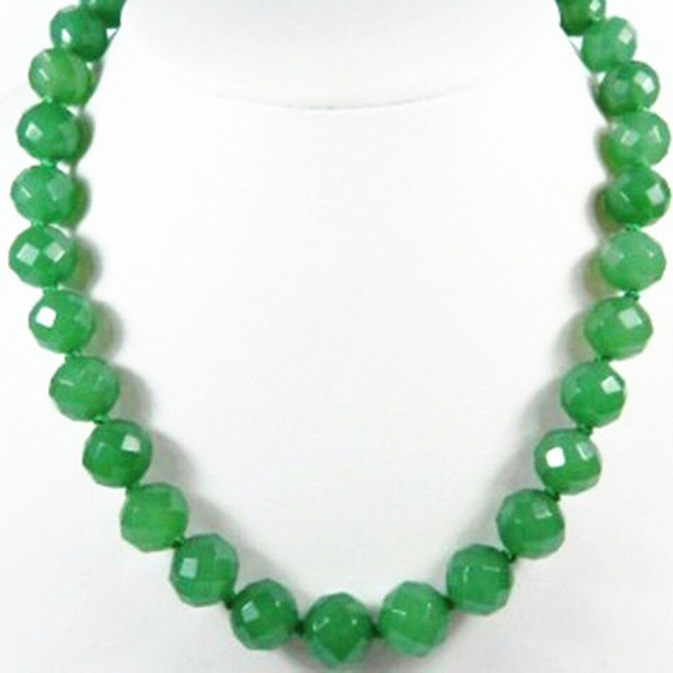 Charms 10mm faceted round beads green jades stone chalcedony necklace for women trendy party gift hot sale jewelry 18inch BV307