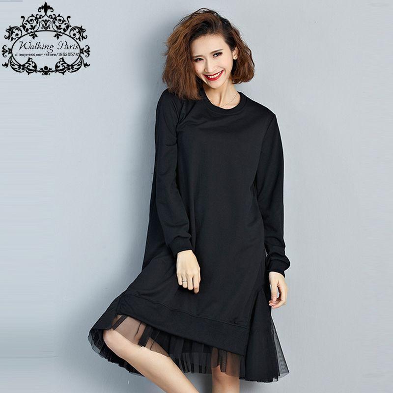 Tamaño grande T-Shirt de Algodón Mujeres Remiendo del Cordón Sólido Del Otoño Moda Femenina Básica Del O-cuello de Manga Larga Casual Negro Camisetas y Tops vestido