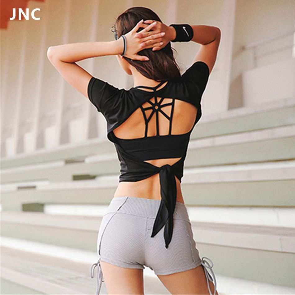 2018 Women Backless Sports Shirts Open-Back Top Yoga Shirt Short Sleeve Exercise Tops Workout Shirt Crop Top Gym <font><b>Fitness</b></font> Clothes