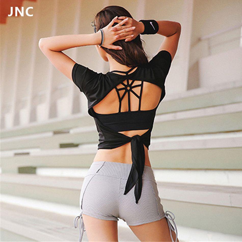 2018 frauen Backless Sport Shirts Zurück Top Yoga Shirt Kurzarm Übung Tops Training Hemd Crop Top Gym Fitness Kleidung