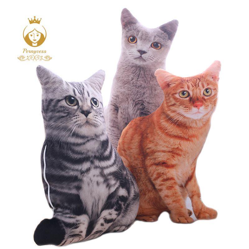 1 pièces 50CM 3D Simulation chats oreiller, mignon chat lavable en peluche oreiller en peluche, enfants jouet, canapé oreiller, décoration de la maison