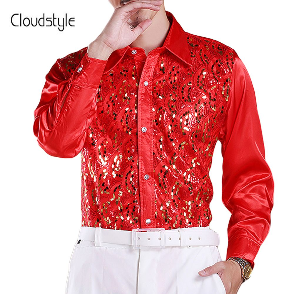 Cloudstyle 2018 Brand New Men Shirts Fashion Luxury Long Sleeve Bright Scales Tuxedo Shirt Stage Shirt for Singers