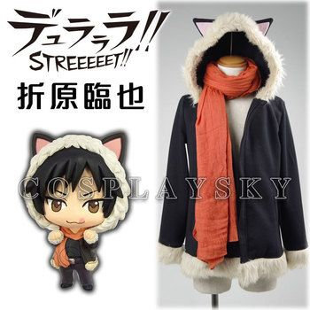 Durarara Cos Orihara Izaya Berber Fleece Black Hoodie with Cat Ears Cosplay Costume