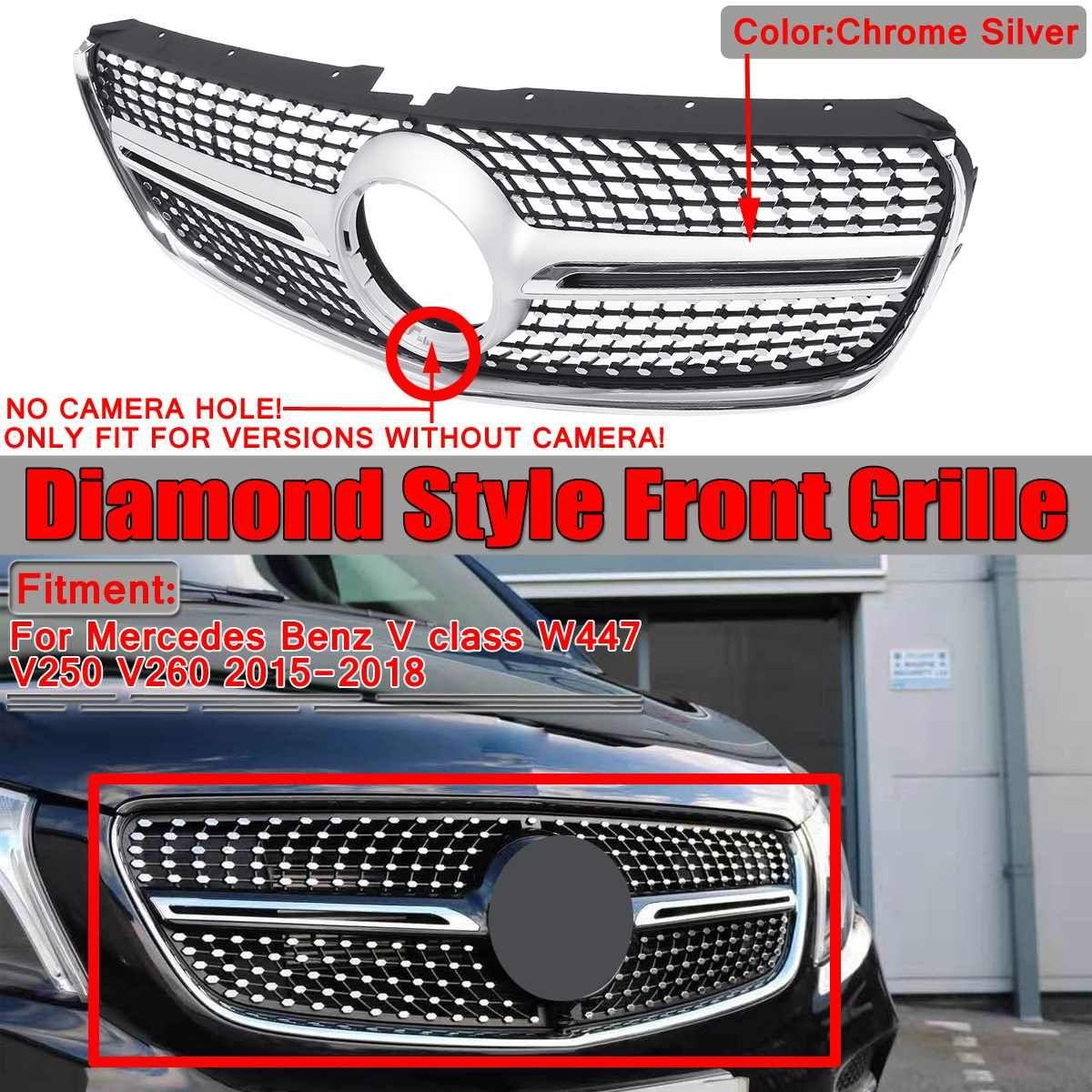 W447 V250 V260 Diamant Auto Frontgrill Grill Für Mercedes Für Benz V Klasse W447 V250 V260 2015 2016 2017 2018 kein Emblem