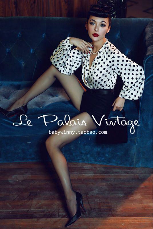 Le Palais Vintage Limited elegant black and white dots lantern sleeve splicing Wooled Shorts /women jumpsuit