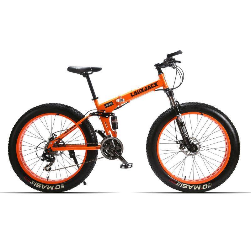 LAUXJACK Fat Bike Full Suspension Steel Foldable Frame 24 Speed Shimano Mechanic Brake 26
