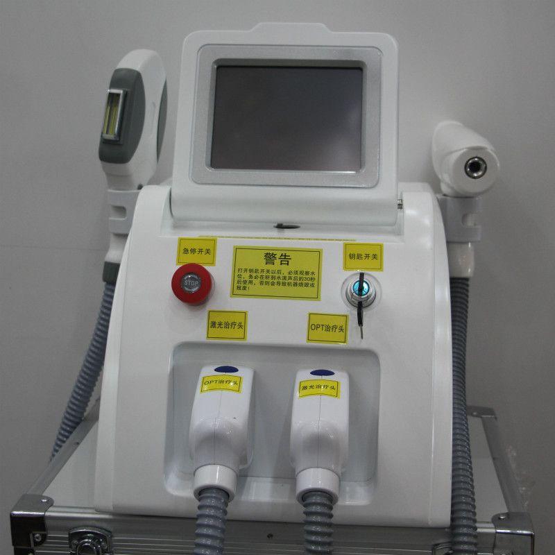 Tragbare IPL Laser yag haar entfernung Preis/Multifunktions Laser Schönheit Maschine SHR IPL ND YAG mit 2 griffe